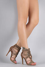 Knitted Strappy Open Toe Caged Stiletto High Heel Sandals - Taupe