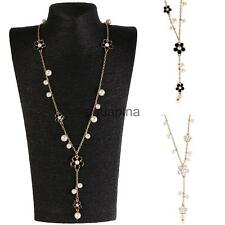 Korean Style Five-petaled Flowers Faux Pearl Charm Long Sweater Pendant Necklace