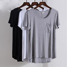 Women's Ladies Modal Female Short sleeve  O neck Top T-shirt Loose Solid Fashion