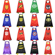 Kids Cape Superhero Boy Girl Party Costume Superman Batman Spiderman Ironman
