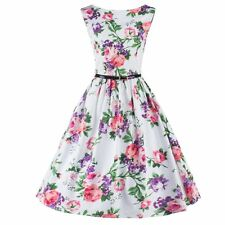 Vintage Style Floral Printed Women Cocktail Party Sleeveless Dress