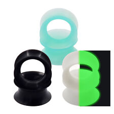 6PCS-SILICONE-EAR GAUGES PLUGS-EAR EXPANDER-BLACK-TURQUOISE-GLOW IN THE DARK