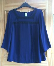 Marks & Spencer M&S New Navy Blue Lace Insert Chiffon Blouse Top Size 8 - 12