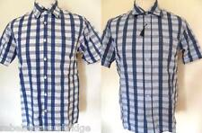 PETERWERTH Men's Short Sleeve Check Cotton Shirt Blue,White Sizes:2 & 3