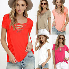 Womens Loose Pullover T Shirt Short Sleeve Cotton Tops Casual Shirt Blouse New