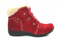 Womens Ladies Earth Spirit Comfort Fur Trim Red Suede Ankle Boots Size UK 3-8