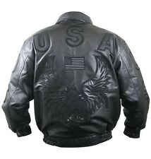 Black Leather American USA Flag Eagle Bomber Jacket