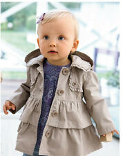 Toddlers Girl Fall Winter Falbala Clothes Outwear Wind Hooded Jacket Trench Coat