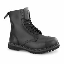 Grinders STAG CS Unisex Mens Womens Leather Non Safety Steel Toe Boots Black