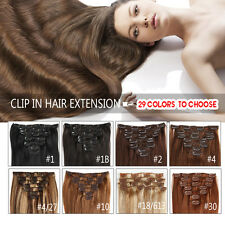120g140g160g Virgin Remy Clip In Real Human Hair Extensions Black,Brown,Blonde