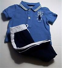 NWT Ralph Lauren Polo Baby Boys Kid Clothes 2 Piece Rugby Blue Shirt long pants
