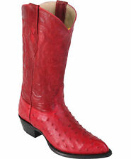 LOS ALTOS RED GENUINE FULL QUILL OSTRICH WESTERN COWBOY BOOT EE 990312