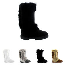 Ladies Fur Trim Fashion Fur Lined Winter Waterproof High Calf Boots All Sizes
