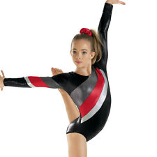 NEW Red Silver Black Foil Long Sleeve L/S Gymnastics Competition Leotard