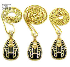 "ICED OUT RAPPER'S KING TUT PENDANT & 24"" BOX, ROPE, CUBAN CHAIN HIP HOP NECKLACE"