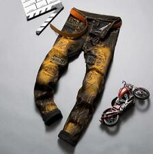 Fashion Design Embroidered Men Retro Slim Straight Ripped Jeans Casual Pant Q235