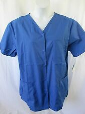 Crest Scrub Top NWT XL L Snap Front Royal Blue Short Sleeve V Neck Easy Care
