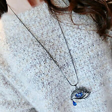 Blue Eyes Angel Tear Pendant Crystal Long Necklace Sweater Chain Shining
