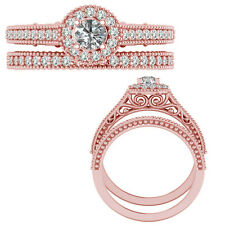 0.55 Carat G-H Diamond Victorian Halo Wedding Couple Ring Band 14K Rose Gold