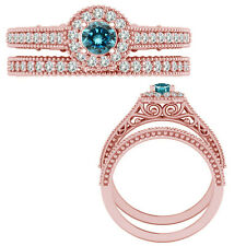 0.55 Carat Blue Diamond Victorian Halo Bridal Wedding Ring Band 14K Rose Gold