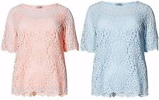 NEW EX M&S PALE BLUE / PEACH LAYERED LACE TOP WITH CAMISOLE TOP SIZE 8 - 24