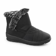Dr Keller THUNDER Ladies Womens Warm Lined Zip Faux Fur Winter Ankle Boots Black