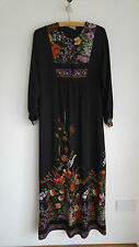 True Vintage 1970s 'W' Brand Floral Polyester Maxi Dress  L Sleeved - Size 12/14