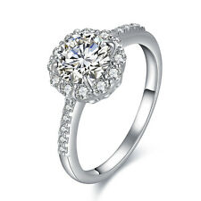 Round Cut 10K White Gold Plated CZ Engagement Wedding Ring Women's Size 6-9