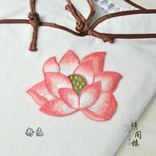 Embroidered Lotus Flower Applique Sew On Patch Clothing Bag DIY