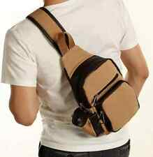 New Men Vintage Canvas Travel Hiking Messenger Backpack Chest Shoulder Bag