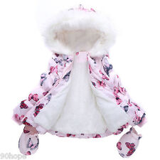 XMAS New Kids Toddlers Girls Butterflies Winter Fleece Coat Jacket & Gloves