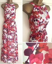 BNWT BHS BEAUTIFUL IVORY CORAL PINK PURPLE FLORAL MAXI DRESS PARTY SIZE 8 - 20