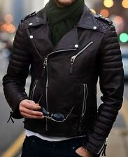 Mens Quilted Black Diamond Real Lamb Skin Slim fit Leather Jacket Halloween