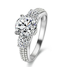 2.24 CT ROUND CUT CZ 10K WHITE GOLD PLATED ENGAGEMENT RING BAND WOMEN'S SIZE 6-9