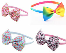 NEW Sweet Child Girl's Fabric leopard grid floral Headband Hair Bow Accessory