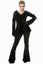 Women's Gorgeous Gothic Velvet Laced Corset Style Halloween Long Sleeve Top Goth