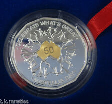 2010 Australia Day Selectively Gold Plated 50c Silver Proof Coin. POPULAR COIN!