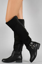 Over Knee Flat Riding Boots Vegan Leather Suede Double Buckle - Black