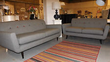 Designer grey fabric with multi coloured buttons 3 and 2 seater sofas exshowroom