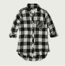 WOMENS ABERCROMBIE & FITCH SIZE SMALL SEQUIN PLAID FLANNEL BUTTON DOWN SHIRT NWT