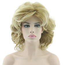 Women Blonde Wave Curly Short Wig Synthetic Heat Resistance Full Lace Wigs W8