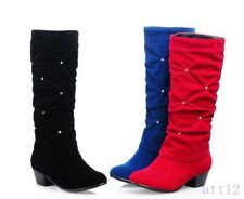 Womens Slouchy Faux Suede Pull On Low Heel Mid Calf Boot Rhinestones Roma Shoes