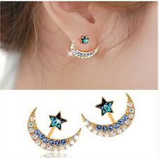 1 Pair New Fashion Women Lady Elegant Star Moon Crystal Silver Ear Stud Earrings