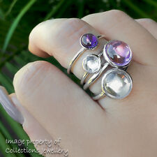1 RING ONLY Droplet Ring Solid Sterling Silver Pink Purple Clear Size 7 / 54