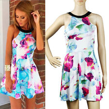 Women's Bohemia Floral Sleeveless Sundress Short Mini Dress Beach Summer
