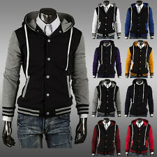 Men's Autumn Winter Hoodies Fleece Coat Long Sleeved Zip Hooded Casual Jacket
