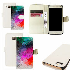 pu leather wallet case for majority Mobile phones -colourful slate pattern white