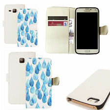 pu leather wallet case for majority Mobile phones - blue raindrops white