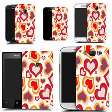 gel case cover for many mobiles  - red multi heart silicone