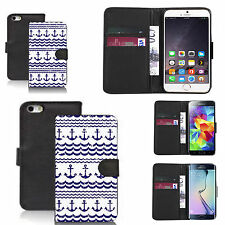 pu leather wallet case for many Mobile phones - traditional anchor